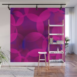 Abstract soap of lilac molecules and bubbles on a dark background. Wall Mural