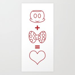 Mickey loves Minnie Art Print