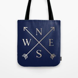 Gold on Navy Blue Compass Tote Bag