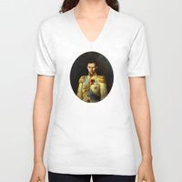 tom hiddleston V-neck T-shirts featuring Tom Hiddleston 001 by TheTreasure