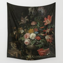 Abraham Mignon - The overthrown bouquet - 1660-1679 Wall Tapestry