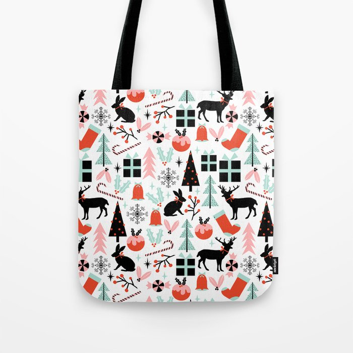 Christmas ornaments minimal holly reindeer candy cane christmas tree pattern print Tote Bag