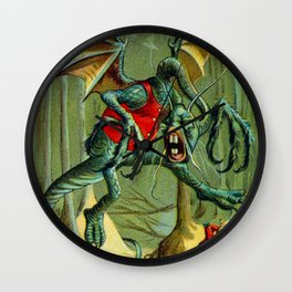 Alice and The Jabberwock in Color From Through The Looking Glass  Wall Clock