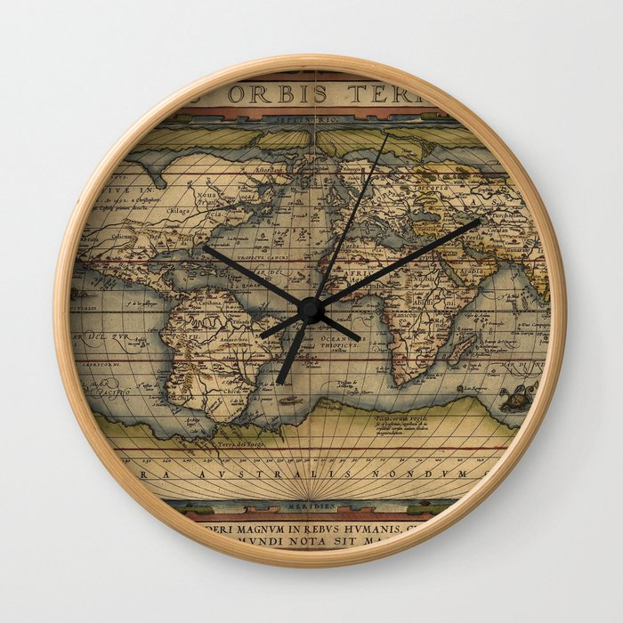 The world Ortelius Typus Orbis Terrarum 1564 Vintage World Wall Clock