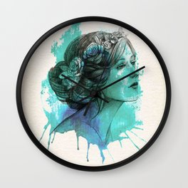 face beautiful girl drawe splash Wall Clock