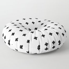 Criss Cross in White Floor Pillow