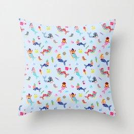 Seaside Mermaids - Pastel Blue Throw Pillow