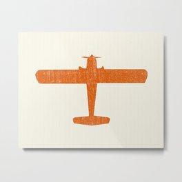 Vintage Orange Airplane Art Print Metal Print