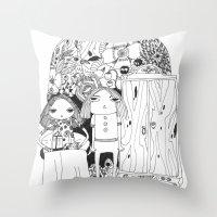 couple Throw Pillows featuring Couple by Mono Ahn