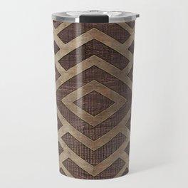 Ethnic Geometric Wooden texture pattern Travel Mug