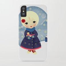 Rosy Snowflakes Slim Case iPhone X