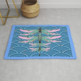ROSE TIPPED DRAGONFLY PATTERNS ON BLUE CLOUD DESIGNS ART Rug