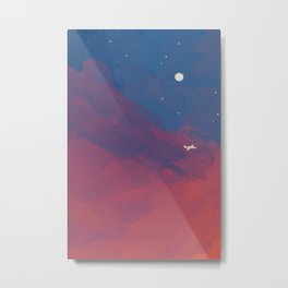 A Lone Flight Amongst The Pastel Unknown. Metal Print