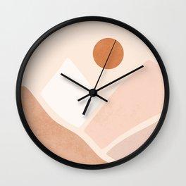 Warm Neutral mountain sun Wall Clock