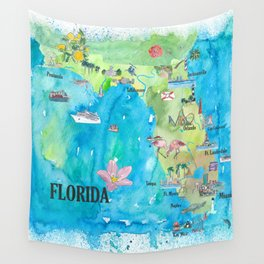 USA Florida State Fine Art Print Retro Vintage Map with Touristic Highlights Wall Tapestry