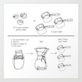 Coldbrew Recipe Art Print