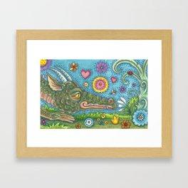 DRAGON'S SECRET GARDEN - Brack Fantasy Dragon Framed Art Print