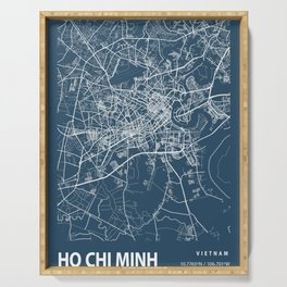 Ho Chi Minh Blueprint Street Map, Ho Chi Minh Colour Map Prints Serving Tray