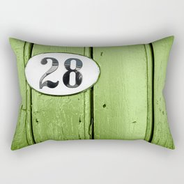 Old green wooden door close-up with house address number 28 Rectangular Pillow
