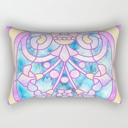 Art Nouveau Blue Pink and Yellow Batik Design Rectangular Pillow