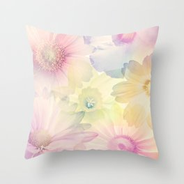 Abstract Colorful Flowers for Background, soft focus Throw Pillow