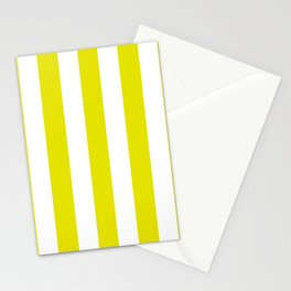 Peridot yellow - solid color - white vertical lines pattern Stationery Cards