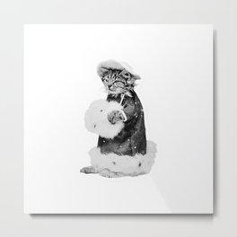 Cat in a Coat and Hat Metal Print