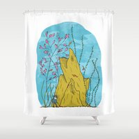 the life aquatic Shower Curtains featuring Our Life Aquatic by Hamburger Hands