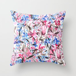 Wandering Wildflowers Pink  Throw Pillow