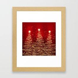 Elegant Christmas Sparkling Trees Red  Framed Art Print