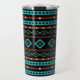 Aztec Teal Reds Yellow Black Mixed Motifs Pattern Travel Mug