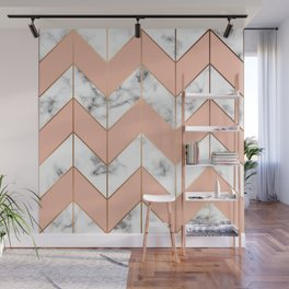 LUXE ROSE GOLD VECTOR ON BLACK AND WHITE MARBLE Wall Mural