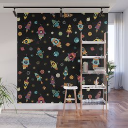 Space Ship Animals Seamless Pattern Wall Mural