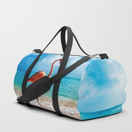 Amazing Awesome Pink Flamingo Walking Along Beach Ultra HD Duffle Bag