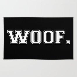 Woof. - White on Black Rug