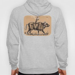 Teatime with waterbuffalo and genet Hoody