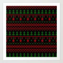 3 Knitted Christmas pattern in retro style pattern Art Print