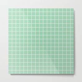 Turquoise green - green color - White Lines Grid Pattern Metal Print