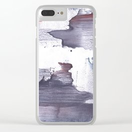 Dark slate gray abstract watercolor Clear iPhone Case