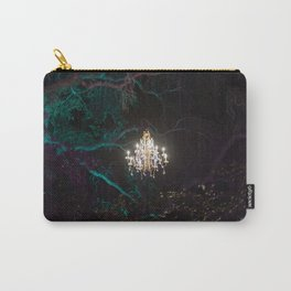 Enchanted forest of light - brightly lit chandelier magically hovering in the middle of the forest Carry-All Pouch