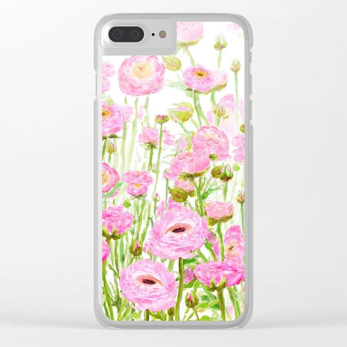 pink buttercup ranunculus field watercolor Clear iPhone Case