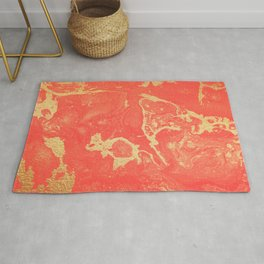 Effect coral and gold marble Rug