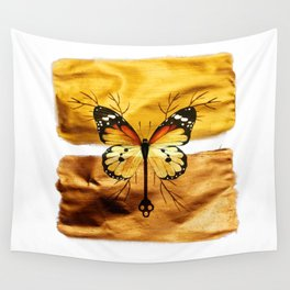 Gold and copper butterfly Wall Tapestry