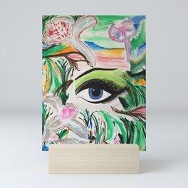 The Rain Forest Original Painting by Jodi Tomer. Blue Eye Abstract Artwork. Mini Art Print