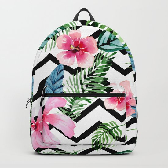 Black and White Tropical Backpack