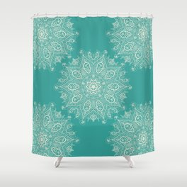 Teal and Lace Mandala Shower Curtain