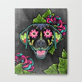 Labrador Retriever - Black Lab - Day of the Dead Sugar Skull Dog Metal Print