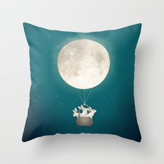 moon bunnies Throw Pillow