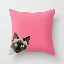 Peeking Siamese Cat - Funny cat meme for cat lovers, cat ladies gifts for cat people Throw Pillow
