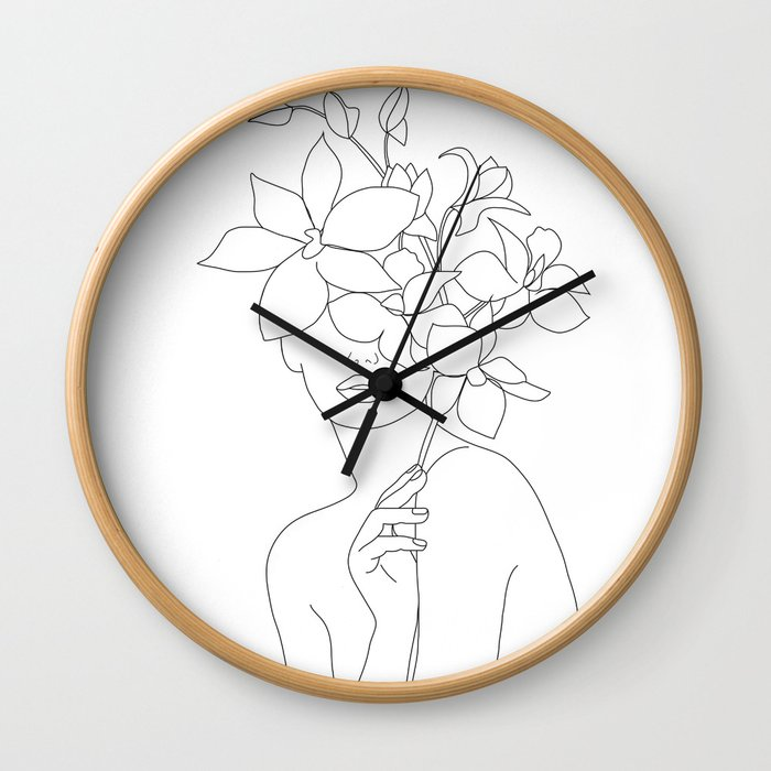 Minimal Line Art Woman with Orchids Wall Clock